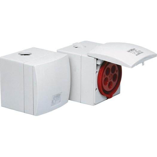 CEE-Aufputzsteckdose IP 44, 5-polig, 400 V, 6 h