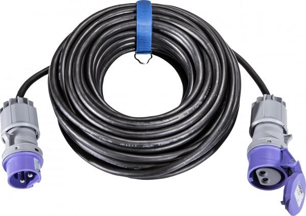 SIROX® CEE-Verlängerung, 16 A, H07RN-F Leitungsfarbe schwarz, Querschnitt 2 x 2,5 mm², Länge 20 m,