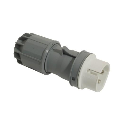 SIROX® CEE-Stecker IP 44, 2-polig, 42 V 16 A, mit vernickelten Kontakten