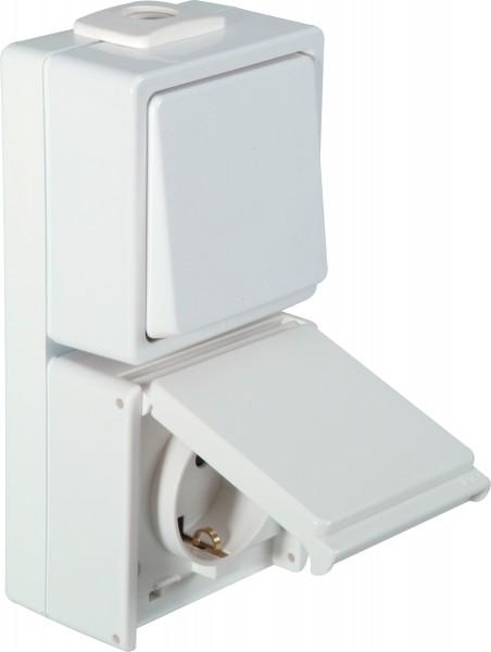 OPUS® AQUA Schalter / Taster mit Steckdose, senkrecht