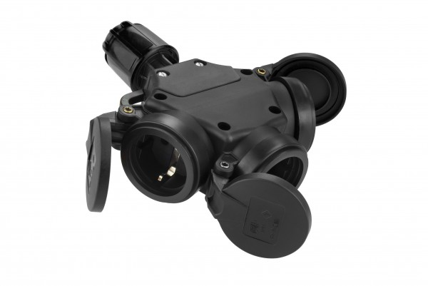 SIROX® XL Vollgummi-3-fach-Hängekupplung mit Feder-Klappdeckeln
