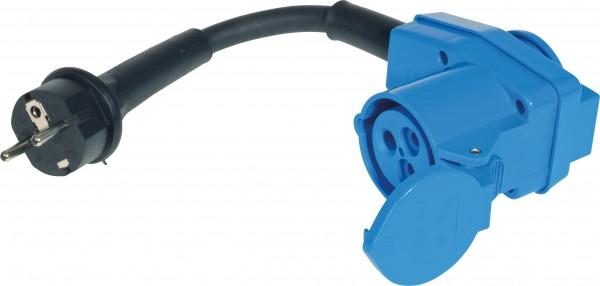 Schutzkontakt-Stecker auf CEE-Kupplung mit Steckdose