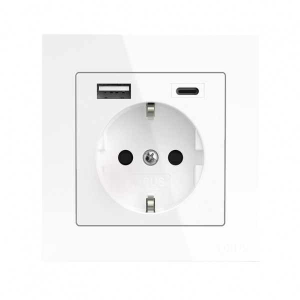 OPUS® 55 Schutzkontakt-Steckdose Komplettgerät mit USB A- und USB C-Anschluss und erhöhtem Berührung