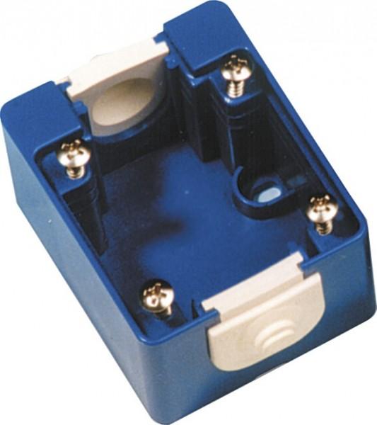 AP-Gehäuse für Einbau-Steckdosen mit Flanschmaß 50 x 50 mm blau