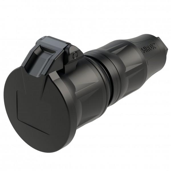 SiRoX® Profi Schutzkontakt-Kupplung mit Klappdeckel, Vollgummi, IP54, schwarz