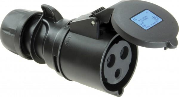 SIROX® CEE-Kupplung IP 44, 3-polig, 230 V, 6 h, schwarz