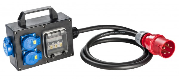 SIROX® CEE-Vollgummi-Adapterbox mit CEE-Stecker 32 A