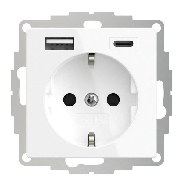 OPUS® 55 Schutzkontakt-Steckdose mit USB A- und USB C-Anschluss und erhöhtem Berührungsschutz